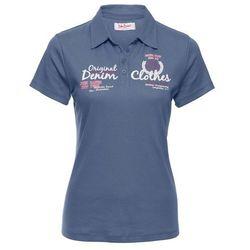 Shirt polo z nadrukiem, krótki rękaw bonprix indygo