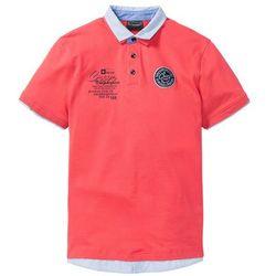 Shirt polo z podwójnym kołnierzykiem bonprix koralowy