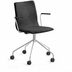 Krzesło konferencyjne OTTAWA, na kółkach, podłokietniki, czarna tkanina, biały