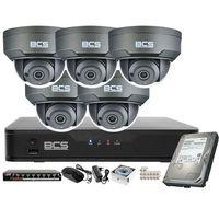 Kamery przemysłowe, Monitoring wideo audio kasy stacji paliw sklepu BCS Point Rejestrator IP + 5x Kamera BCS-P-212RWSA-G + Akcesoria