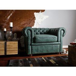 Fotel skóra ekologiczna zielony CHESTERFIELD