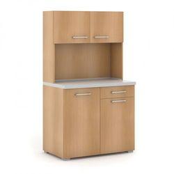 Kuchnia biurowa PRIMO bez wyposażenia, szary/buk