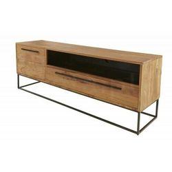 INVICTA stolik RTV STRAIGHT 165 cm - akacja, drewno naturalne, metal