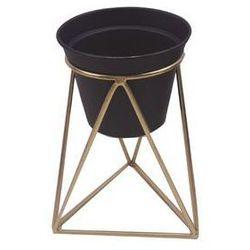 Osłonka na stojaku metalowym śr. 12 cm czarno-złota MODERN