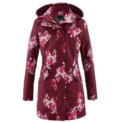 Kurtki damskie, Długa kurtka bonprix czerwony klonowy - różowy hibiskus z nadrukiem