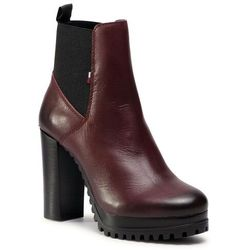 Botki TOMMY JEANS - Essential Cleated Heeled Boot EN0EN01075 Warm Mahogany GRV