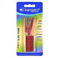 Zszywacz KANGARO Mini-10/Y2 C-THRU+zszywki, zszywa do 10 kartek, blister, czerwony
