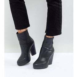 ASOS EARTHLING Wide Fit High Ankle Boots in Water Based PU - Black