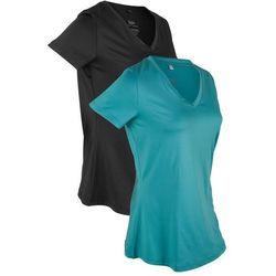 Shirt sportowy (2 szt.), krótki rękaw bonprix matowy kobaltowy + czarny