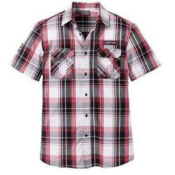 Koszula z krótkim rękawem Slim Fit bonprix czarno-biało-ciemnoczerwony w kratę