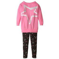 Długa koszulka dziewczęca + legginsy (2 części) bonprix matowy różowy + czarny