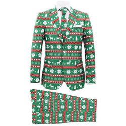 Świąteczny garnitur męski z krawatem, 2-częściowy, 48, zielony