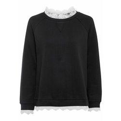 Bluza oversize z koronką bonprix czarny