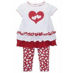 Koszulka niemowlęca + legginsy (2 części), bawełna organiczna bonprix biało-ciemnoczerwony z nadrukiem