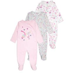 mothercare GIRLS HANGING SLEEPSUIT EASY PRECIOUS BABY 3 PACK Piżama pastels multicolor