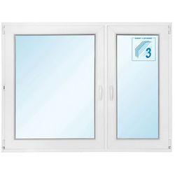 Okno PCV rozwierne + rozwierno-uchylne trzyszybowe 1465 x 1135 mm prawe