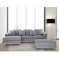 Narożniki, Sofa jasnoszara - sofa narożna P - tapicerowana – sofa z pufą - OSLO
