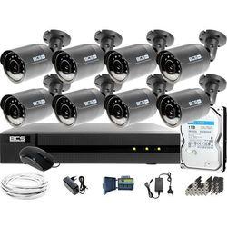 Monitoring Full HD BCS Basic Full HD 2MPx 1TB H265+ 8 x Kamera tubowa 2.8mm IR 30m Rejestrator 16 kanałowy