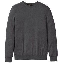Sweter z okrągłym dekoltem i kaszmirem bonprix ciemnoszary melanż