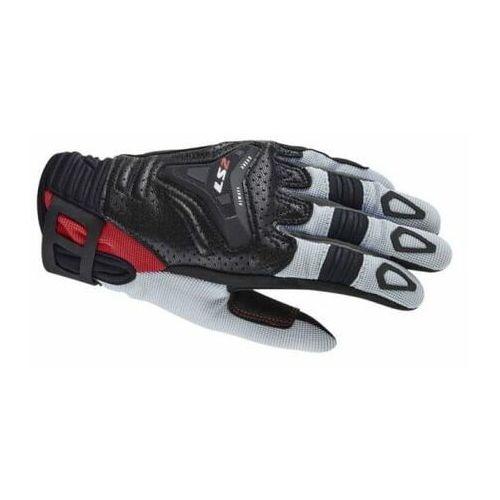 Rękawice motocyklowe, RĘKAWICE MOTOCYKLOWE MĘSKIE RĘKAWICE LS2 ALL TERRAIN MAN BLACK GREY RED - Męskie