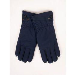 Rękawiczki męskie materiałowo-zamszowe granatowe dotyk 25