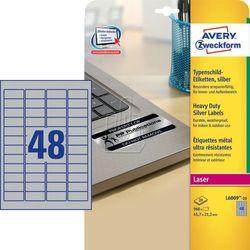 Avery Zweckform etykiety 45.7mm x 21.2mm, A4, srebrne, 48 etykiety, bardzo trwałe, pakowany po 20 szt., L6009-20, do drukarek lase