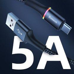 Baseus Halo Data Cable podświetlany nylonowy kabel przewód USB / USB Typ C z diodą LED 5A 40W 2m czarny (CATGH-H01) - Czarny \ 200