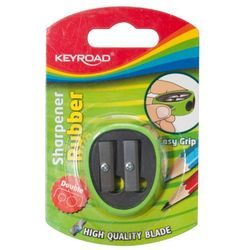 Temperówka KEYROAD, plastikowa, podwójna, z gumką, blister, mix kolorów