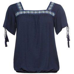 Shirt z okrągłym dekoltem, krótki rękaw bonprix kobaltowy