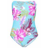 Stroje kąpielowe, Kostium kąpielowy bandeau bonprix turkusowo-różowy z nadrukiem