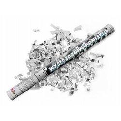 Tuba strzelająca - konfetti i serpentyny metaliczne srebrne - 60 cm - 1 szt.