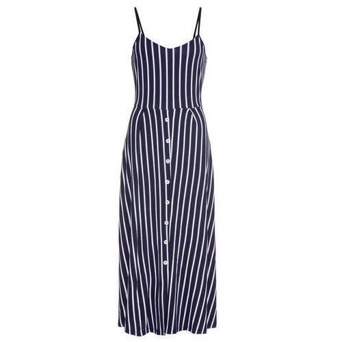 Suknie i sukienki, Sukienka midi w paski bonprix ciemnoniebiesko-biały w paski