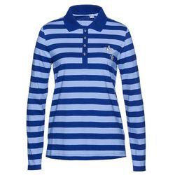 Shirt polo bonprix ciemnoniebiesko-biały w paski