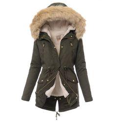 Damska kurtka parka 2w1 jesień/zima w kolorze zielonym