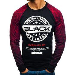 Bluza męska bez kaptura z nadrukiem czarno-czerwona Denley DD258