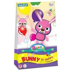 Kartka ozdobna z modeliną Beady card Bunny is happy