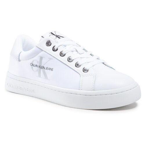 Damskie obuwie sportowe, Sneakersy CALVIN KLEIN JEANS - Cupsole Sneaker Laceup Pu-Ny YW0YW00060 Bright White YAF