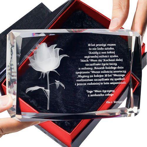 Podziękowania dla rodziców i gości, RÓŻA 3D Kwiat Miłości ♥ personalizowana statuetka 3D duża • GRAWER 3D