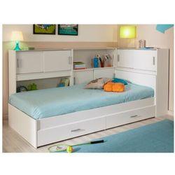 Łóżko basile cm z półkami i 2 szufladami modułowe 90 ×190 cm lub 90 × 200 cm - biały marki Vente-unique