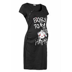 Koszula nocna ciążowa i do karmienia czarny z nadrukiem, Bonprix, 36-58