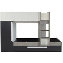 Łóżko piętrowe antonio z wysuwaną szufladą – 3 × 90 × 190 cm – wbudowana szafa – kolor drewna sosnowego, antracytowy i biały marki Vente-unique