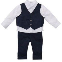 Koszula niemowlęca + kamizelka + spodnie (3 części) biało-ciemnoniebieski marki Bonprix
