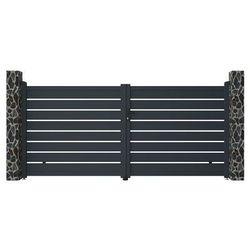 Brama wjazdowa rozwierna primo, ażurowa, z aluminium w kolorze antracytowym – 350 × 158 cm (szer. × wys.) marki Vente-unique