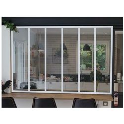 Przeszklona ścianka bayview z aluminium lakierowanego termicznie w kolorze białym – 180 × 130 cm marki Vente-unique