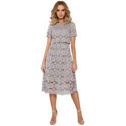 Szara Koronkowa Rozkloszowana Midi Sukienka z Krótkim Rękawem, 1 rozmiar