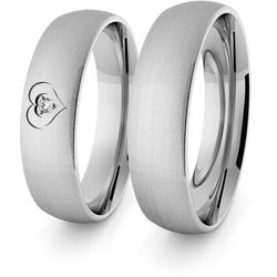 Obrączki ślubne klasyczne z białego złota palladowego 5 mm z sercem i brylantem - 100