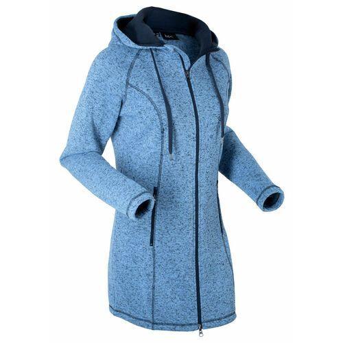 Długa bluza rozpinana z polaru bonprix niebiesko-ciemnoniebieski melanż, długa