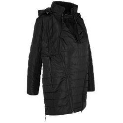 Długa kurtka pikowana ciążowa, z wstawką na nosidełko bonprix czarny
