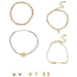 Komplet biżuterii z bransoletkami i kolczykami (7 części) bonprix złoty kolor - jasnoróżowo-biały
