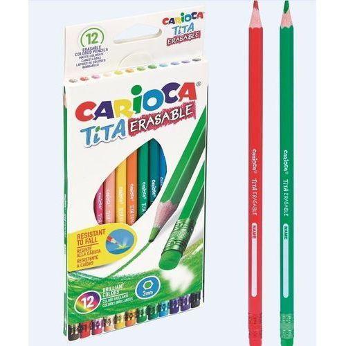 Kredki, Kredki ołówkowe wymazywalne 12 kolorów CARIOCA